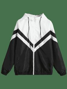 Color Block Zig Zag Windbreaker Jacket BLACK: Jackets & Coats L ...