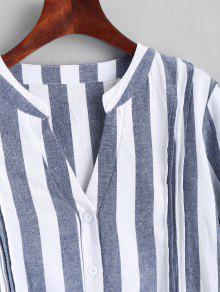 V Neck Striped Slit High Low Dress