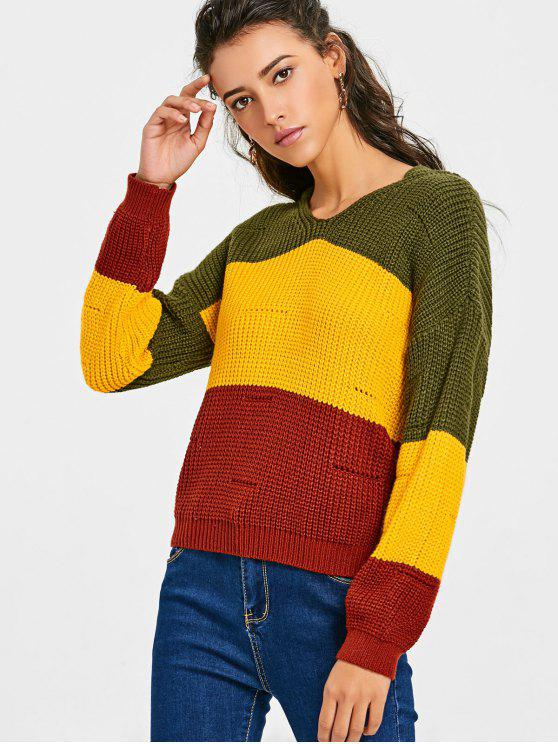 unique Contrast Chunky Hooded Sweater - YELLOW ONE SIZE