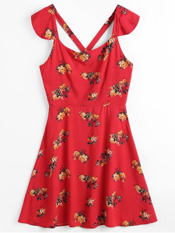 hot Cross Back Floral Beach Dress - RED M