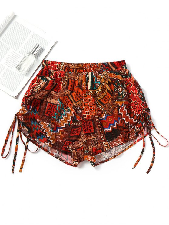 unique Printed Side Cinched Beach Shorts - RED L