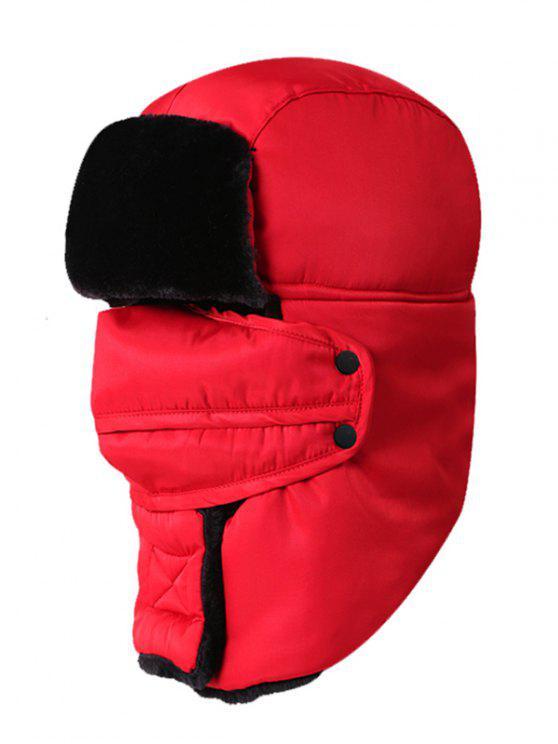 Bonnet de Trappeur d'Hiver Épais Imperméable pour Extérieur - Rouge