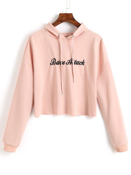 new Crop Letter Embroidered Hoodie - SHALLOW PINK S