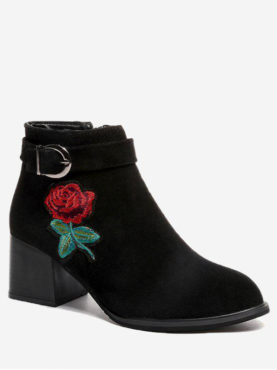 lady Buckle Embellished Flower Embroidered Ankle Boots - BLACK 36