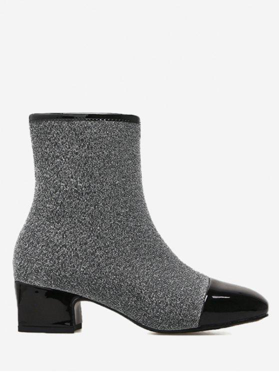 lady Sequined Cloth Square Toe Side Zip Boots - GRAY 37