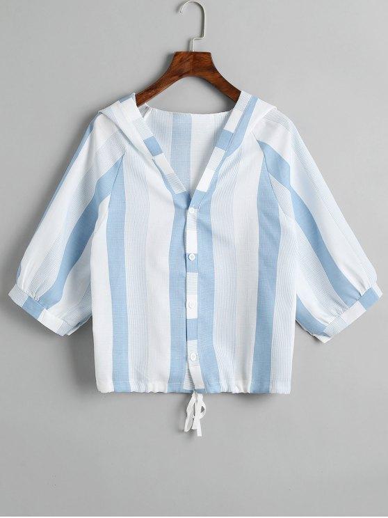 Hooded Drawstring Stripes Top - Azul claro Tamanho único