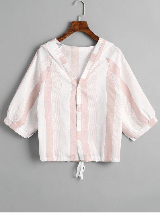 Hooded Drawstring Stripes Top - Rosa Um Tamanho