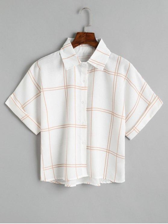 Lockeres Hemd mit Karomuster - Kaffee braun  Eine Größe