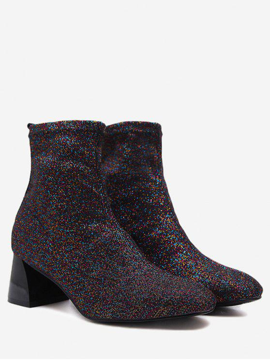 Chunky Heel Stretch Cloth Ankle Boots - Roxo 37