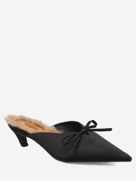 affordable Knitted Heel Bow Mules Shoes - BLACK 38