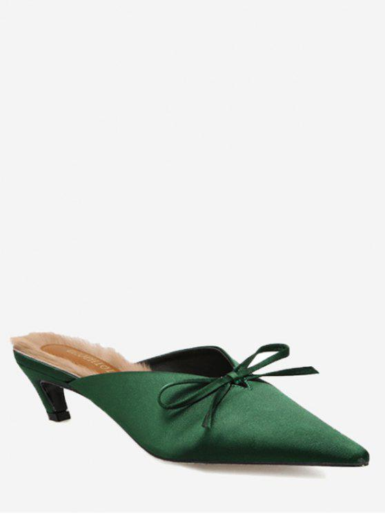lady Knitted Heel Bow Mules Shoes - GREEN 38