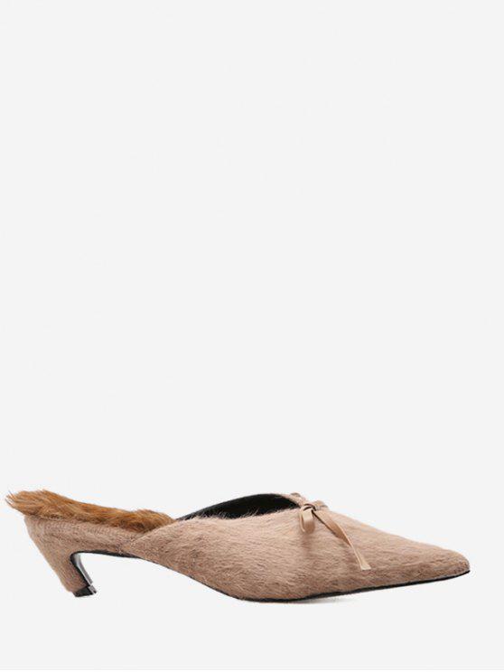 Fuzzy Kitten Heel Bowknot Mules Zapatos - Caqui 36