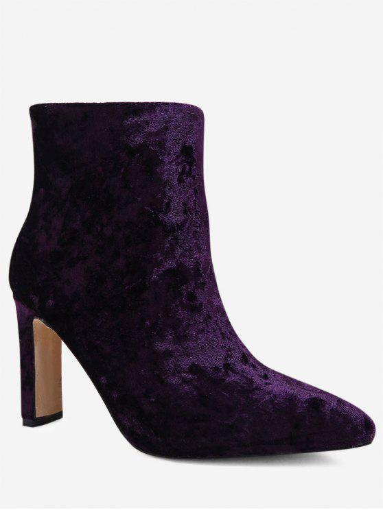 womens Pointed Toe Stretch Velvet Ankle Boots - PURPLE 39