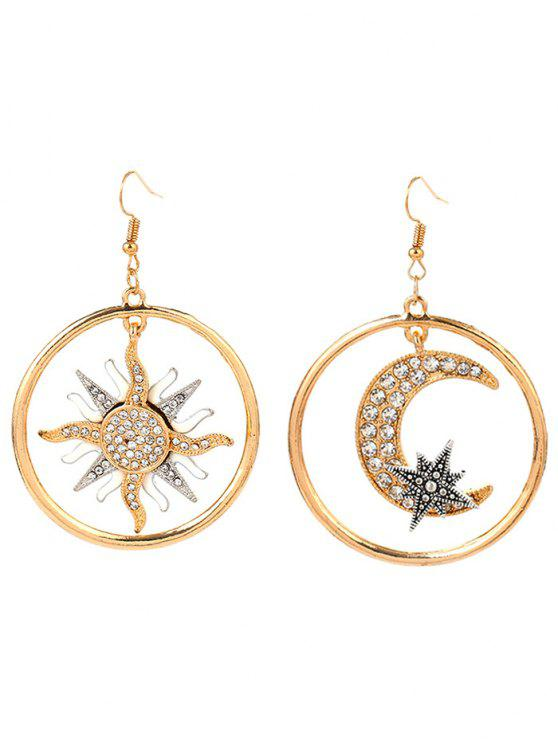 sale Asymmetric Moon Sun Star Round Earrings - GOLDEN