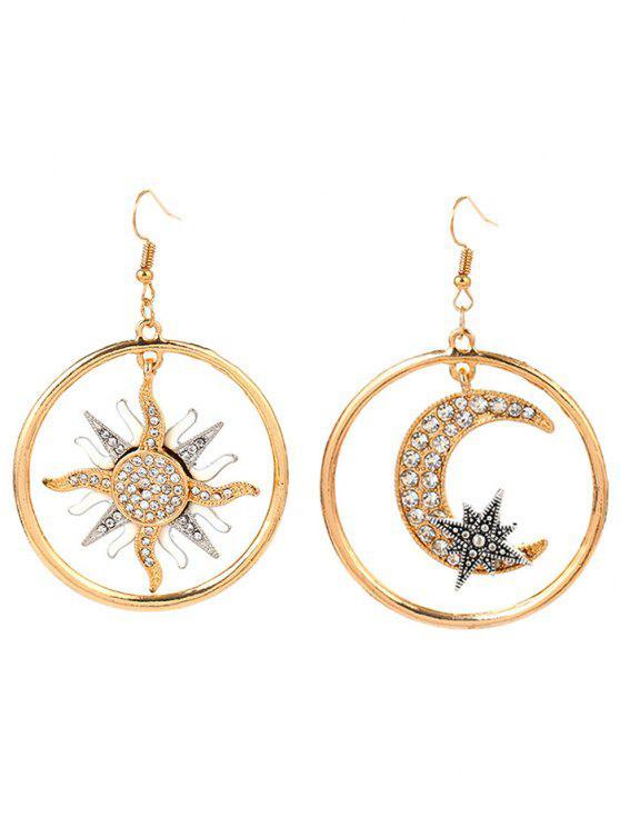 Brincos Asymmetric Moon Sun Star Round - Dourado