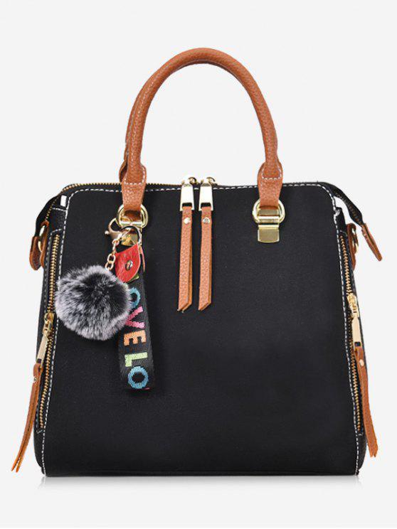 buy Faux Leather Pompom Letter Zip Handbag - BLACK