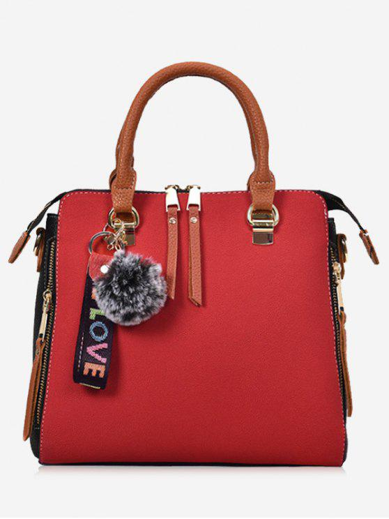 women Faux Leather Pompom Letter Zip Handbag - RED