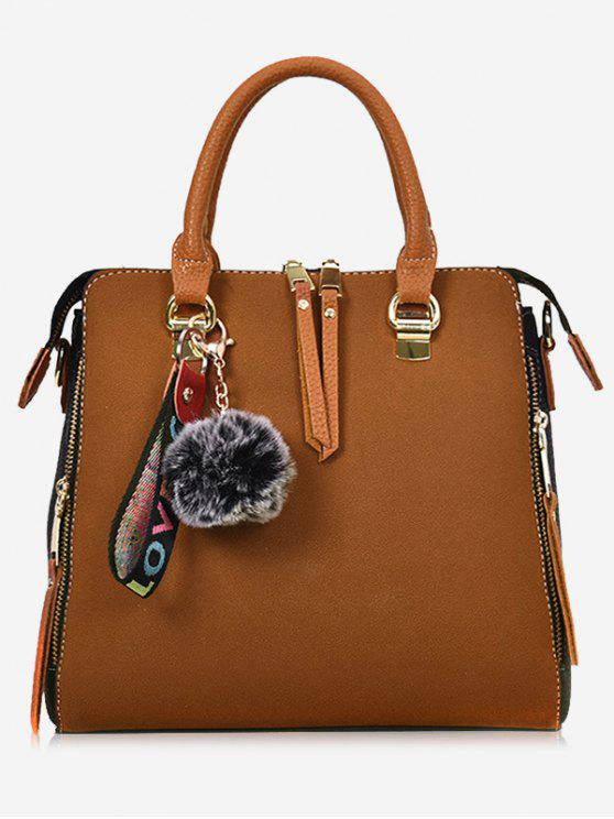 Faux Leather Pompom Letter Zip Handbag - Castanho