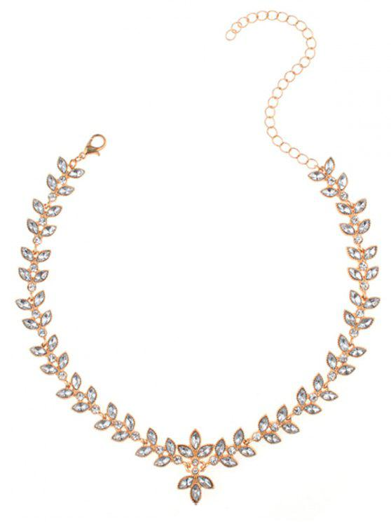 online Alloy Rhinestone Leaf Collarbone Necklace - GOLDEN