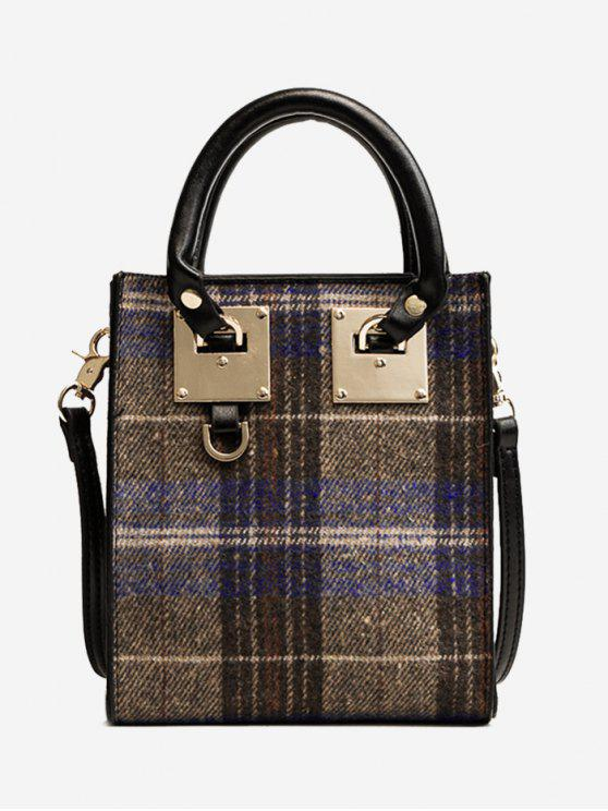 new Metal Plaid Handbag - BLUE