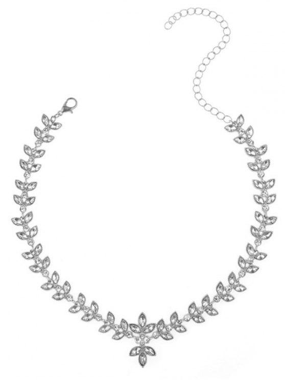 Collier en alliage de strass Feuille Collarbone - Argent