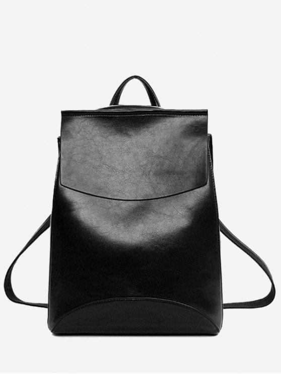 outfit PU Leather Portable Backpack With Handle - BLACK