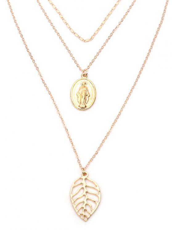 Alloy Leaf graviert Jesus geschichteten Halskette - Golden
