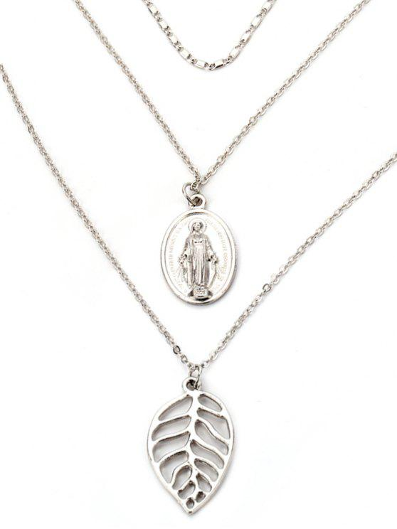 shops Alloy Leaf Engraved Jesus Layered Necklace - SILVER