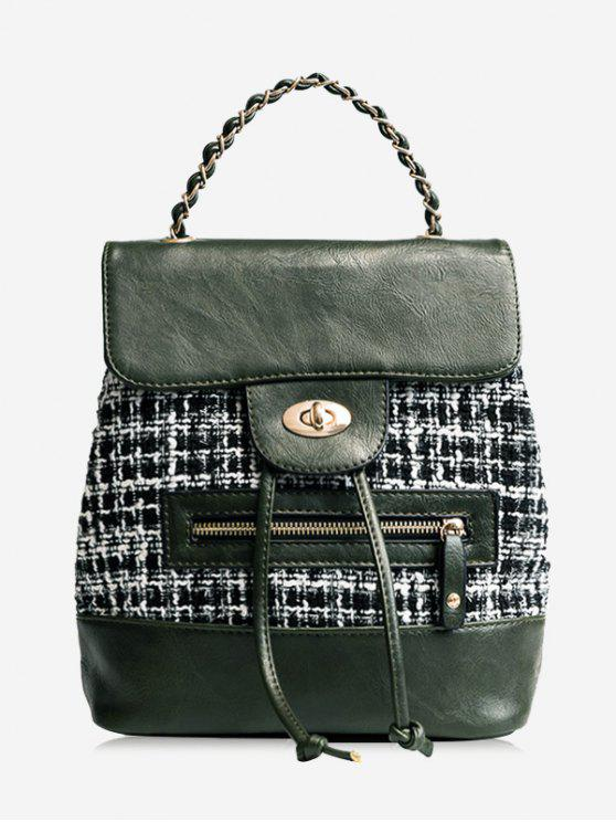 fashion Plaid Color Block String Backpack - GREEN