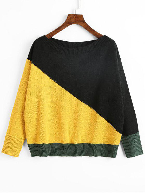 unique Color Block Slash Neck Sweater - YELLOW ONE SIZE