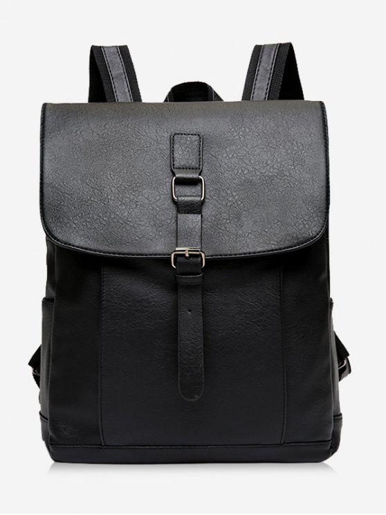 sale Buckle Strap PU Leather Backpack - BLACK