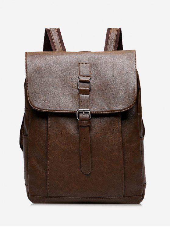affordable Buckle Strap PU Leather Backpack - DEEP BROWN
