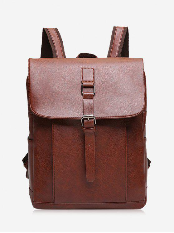 buy Buckle Strap PU Leather Backpack - LIGHT BROWN