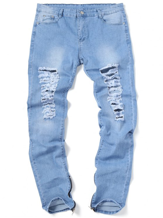 ladies Zip Hem Ripped Jeans - LIGHT BLUE 32