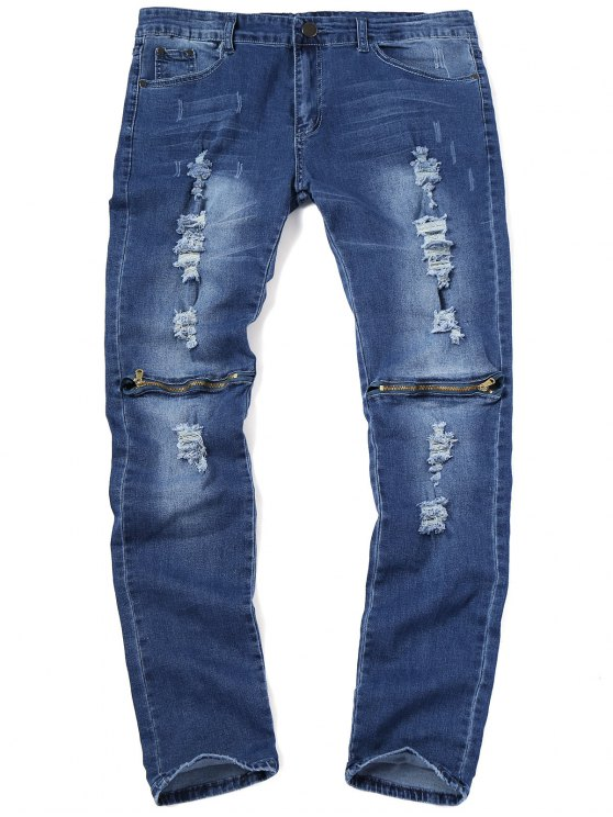 Zip Knee Ripped Jeans - Azul Escuro 38