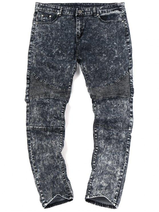 Snow Wash Biker Jeans - Negro 32