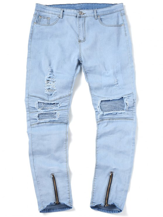 fancy Zip Hem Ripped Biker Jeans - LIGHT BLUE 36