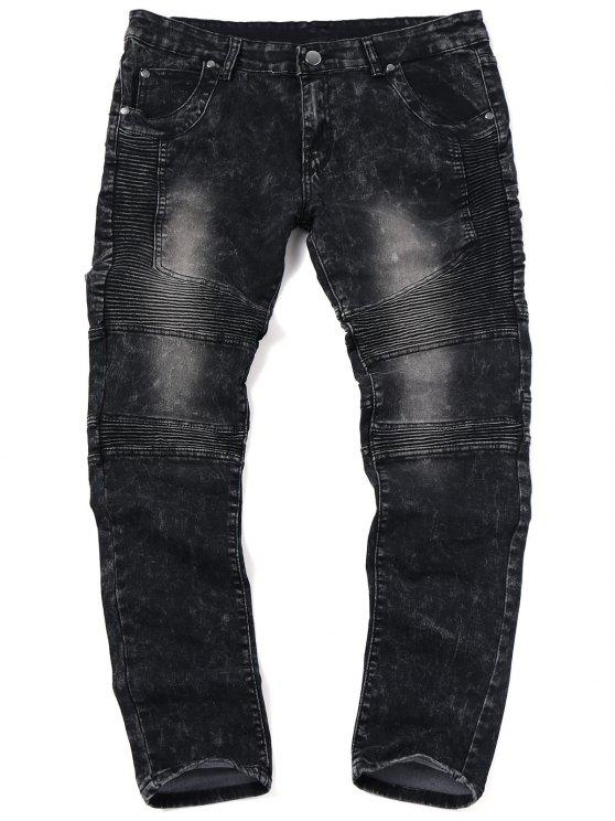 Skinny Snow Wash Biker Jeans - Negro 36