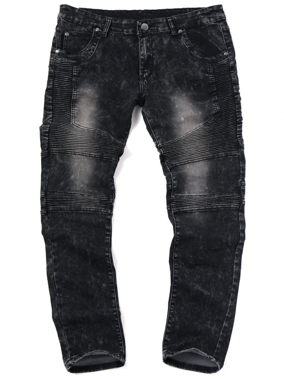 buy Skinny Snow Wash Biker Jeans - BLACK 34
