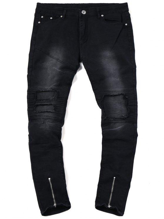 Jeans Ciclista Con Orlo E Cerniera - Nero 38