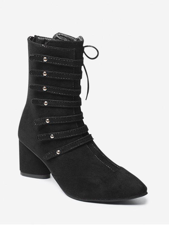 Spitze Zehenschnürung Blockabsatz Stiefel APRICOT BLACK WINE RED