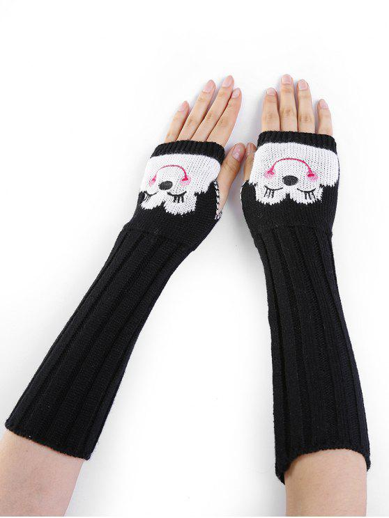 womens Cartoon Pattern Embellished Knitted Fingerless Arm Warmers - BLACK