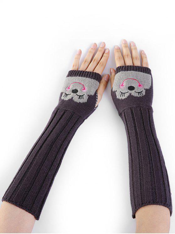 Desenho dos desenhos animados Embellished Knitted Fingerless Arm Warmers - Cinza Escuro