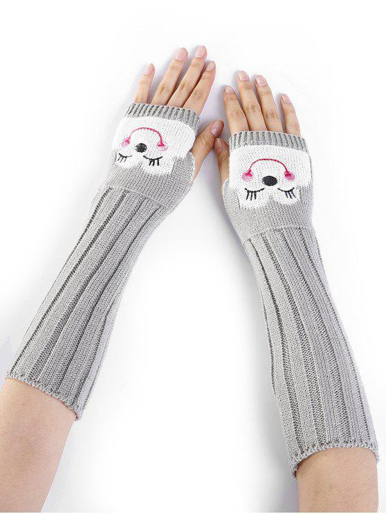 women's Cartoon Pattern Embellished Knitted Fingerless Arm Warmers - LIGHT GRAY