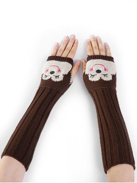 ladies Cartoon Pattern Embellished Knitted Fingerless Arm Warmers - COFFEE