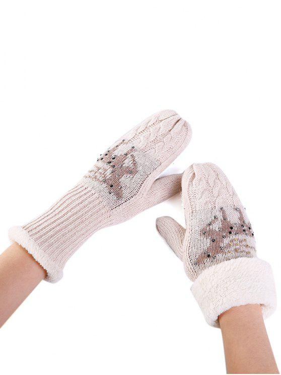 new Elk Pattern Decoration Rhinestone Knitted Gloves - BEIGE