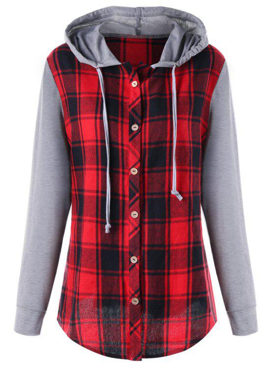 6f2453836b9 2018 Plus Size Hooded Plaid Panel Long Sleeve Top In COLORMIX 4XL ...