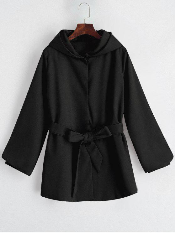 outfits Hooded Belted Snap Button Coat - BLACK XL