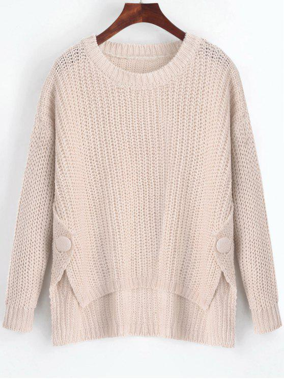 ea13541834840 2018 Buttoned Side Slit High Low Sweater In LIGHT APRICOT ONE SIZE ...