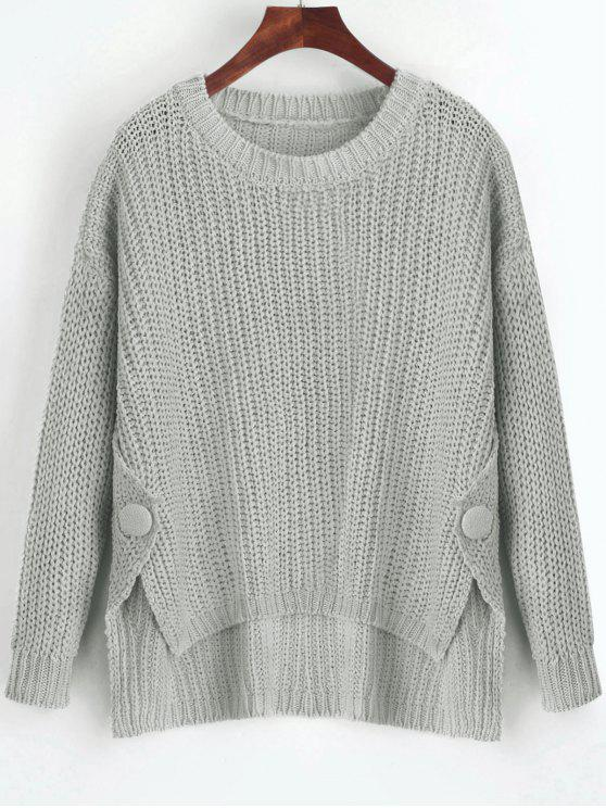 buttoned side slit high low sweater